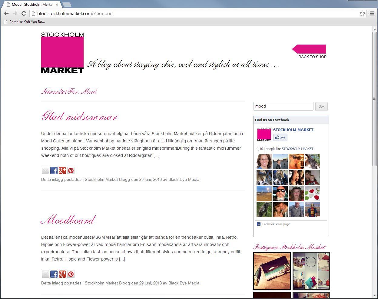 47da596e507 Produktion Hemsida / blogg för Stockholm Market AB. WordPress baserat  design och fuktion